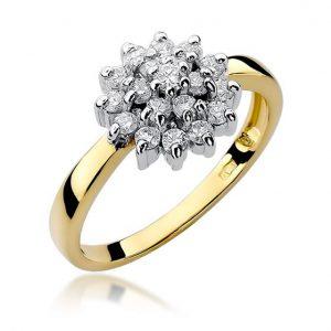 Pierścionek zaręczynowy ze złota z diamentami koszyczek