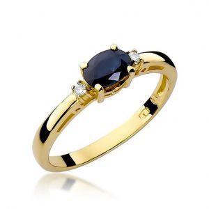 Delikatny pierścionek z szafirem i brylantami