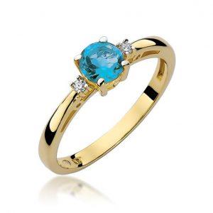 Pierścionek zaręczynowy z topazem i diamentami