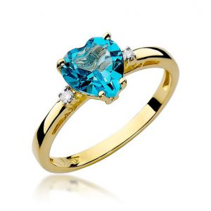 Pierścionek zaręczynowy serduszko z żółtego złota z diamentami i topazem