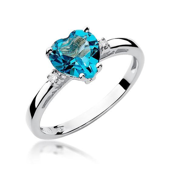 Pierścionek zaręczynowy serduszko z białego złota z diamentami i topazem