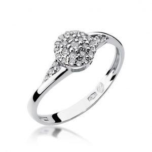 Pierścionek zaręczynowy z białego złota z diamentami koszyczek