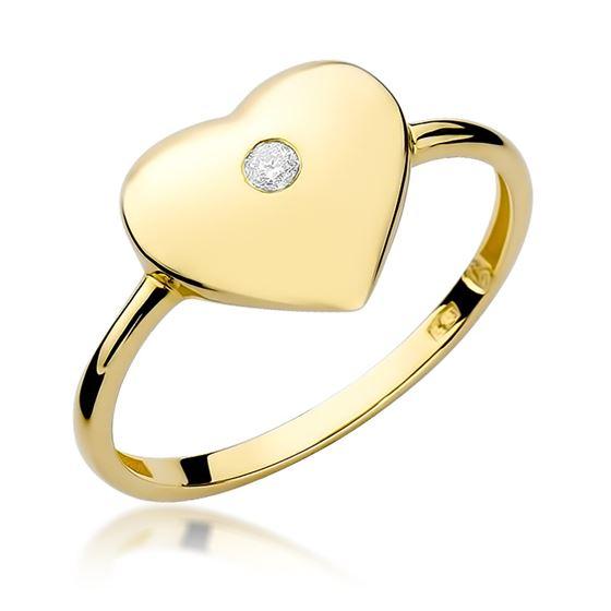 Pierścionek serce z żółtego złota z diamentem