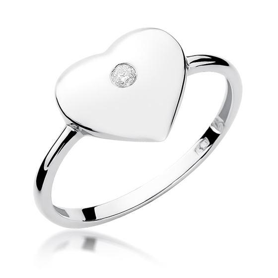 Pierścionek serce z białego złota z diamentem