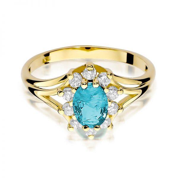 Pierścionek markiza z żółtego złota z topazem i diamentami