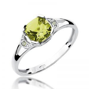 Pierścionek z białego złota z oliwinem i diamentami