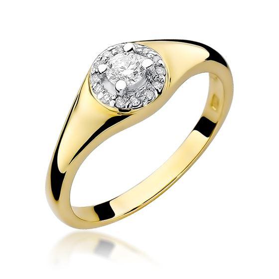 Pierścionek z żółtego złota z diamentami