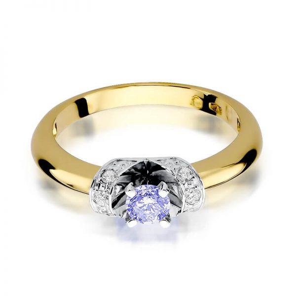 Pierścionek z żółtego złota z tanzanitem i diamentami