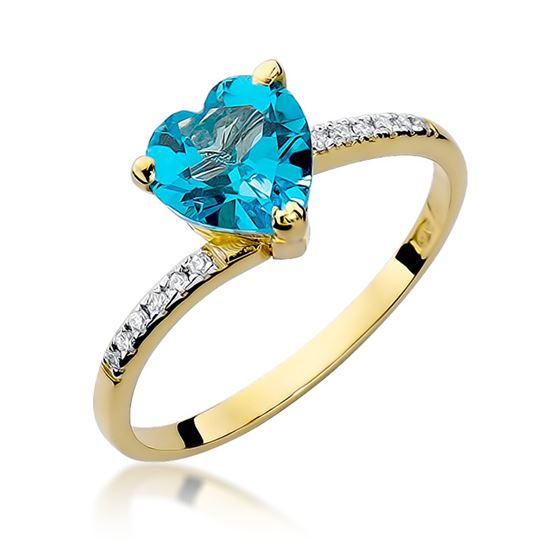 Pierścionek serduszko z żółtego złota z diamentami i topazem