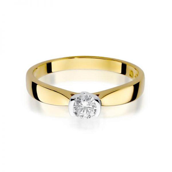 Pierścionek zaręczynowy z żółtego złota z diamentem