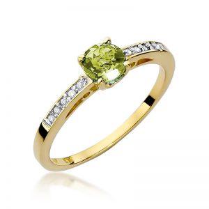 Pierścionek z żółtego złota z oliwinem i diamentami