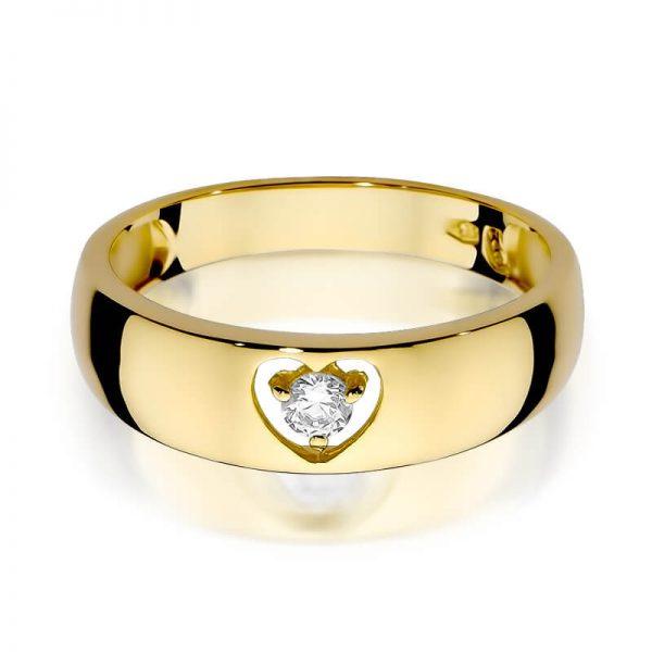 Pierścionek z żółtego złota z diamentami serce