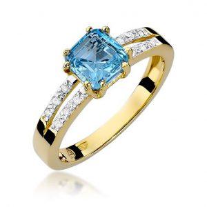 Pierścionek z żółtego złota z topazem i diamentami i diamentami