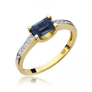 Pierścionek z żółtego złota z szafirem i diamentami