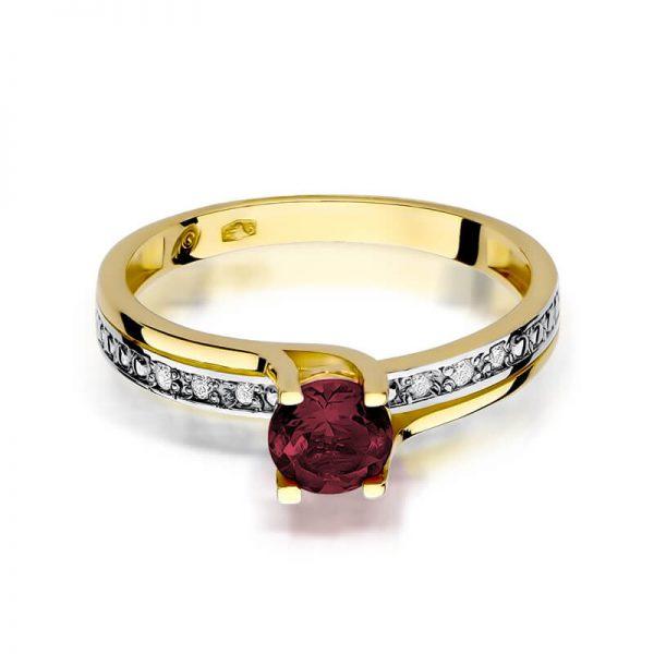 Pierścionek z żółtego złota z granatem i diamentami