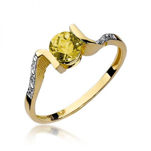 Pierścionek z żółtego złota z cytrynem i diamentami