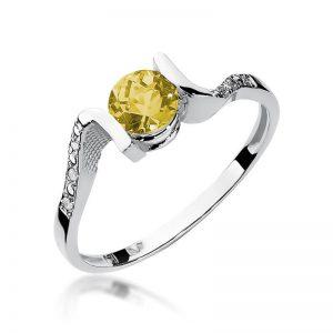 Pierścionek z białego złota z cytrynem i diamentami