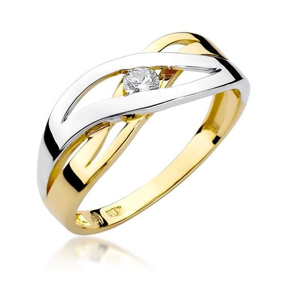 Pierścionek z żółtego złota z diamentem