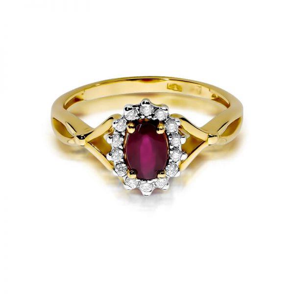 Pierścionek markiza z żółtego złota z rubinem i diamentami
