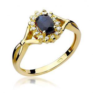Pierścionek markiza z żółtego złota z szafirem i diamentami