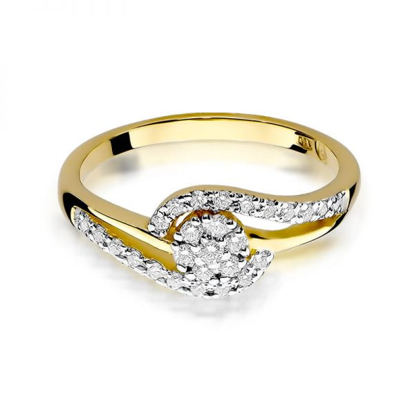 Pierścionek zaręczynowy koszyczek z żółtego złota z diamentami