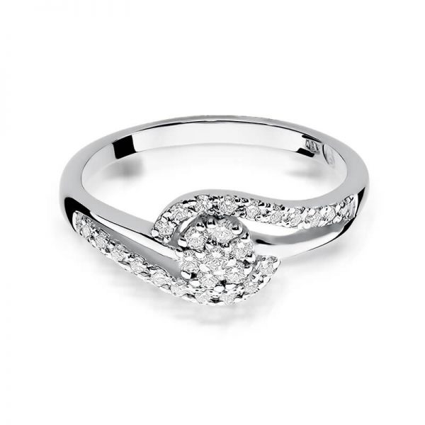 Pierścionek zaręczynowy koszyczek z białego złota z diamentami