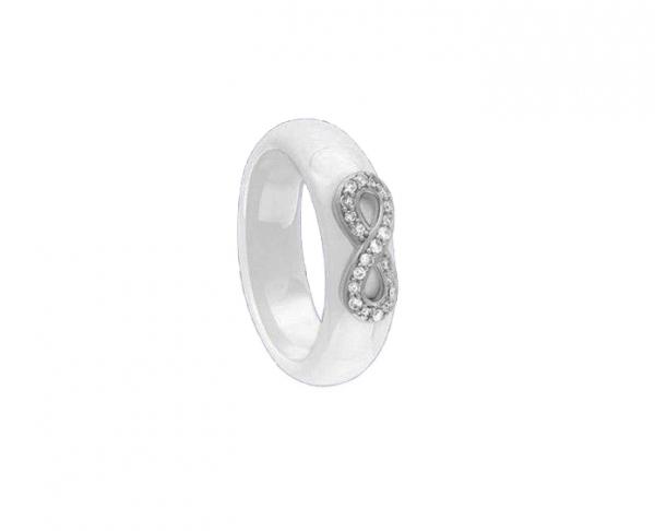 pierścionek z ceramiki nieskończoność