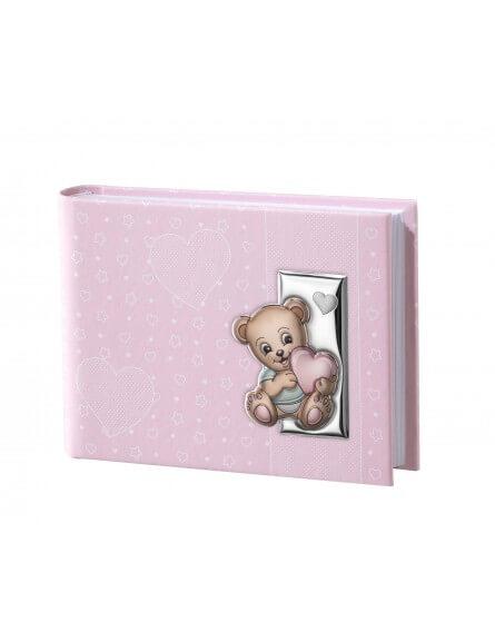 różowy album na zdjęcia miś