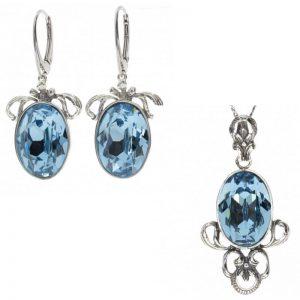 komplet srebrny aquamarine