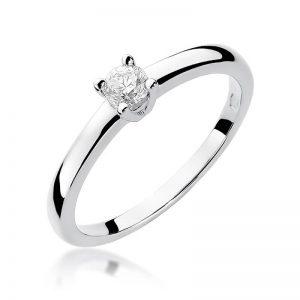 pierścionek z diamentami białe złoto