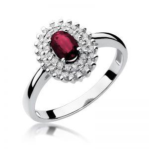 pierścionek z białego złota z rubinem