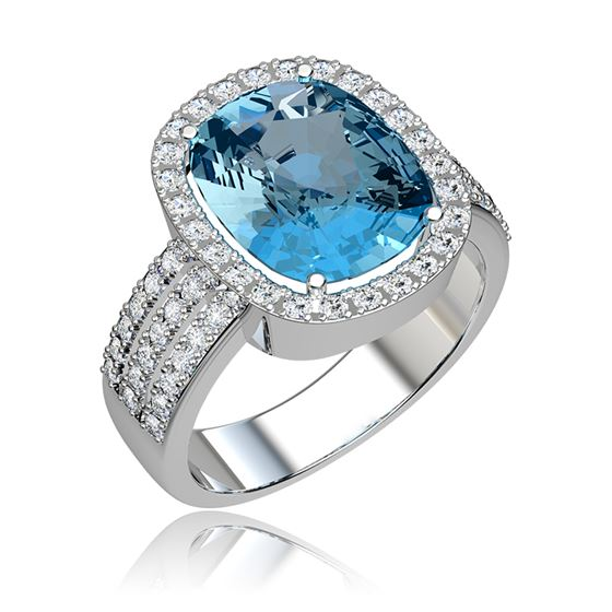 pierścionek z białego złota z topazem