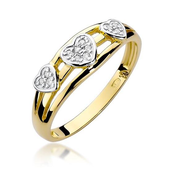 pierścionek serca z diamentami