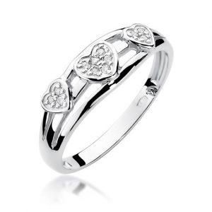 pierścionek serca z białego złota